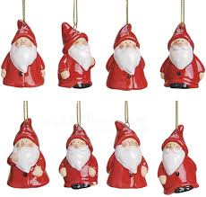 Nikolaus Deko Hänger Weihnachten Christbaumschmuck Keramik Rot 8er Set 5 Cm Matches21