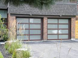 8x7 Haas Brown Frosted Glass Doors Modern Garage Reviews Series 52 ...