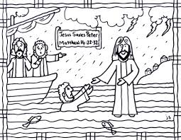 Jesus Saves Peter Cs Jesus Walks On Water Coloring Page John
