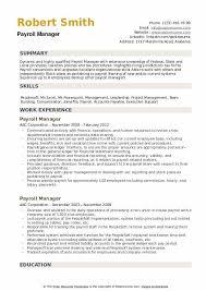 Payroll Manager Resume Samples Qwikresume