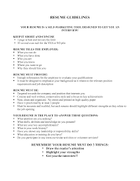 Resume Guidelines Resume Templates