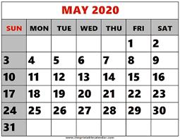 Calendar May 2020 May 2020 Printable Calendars