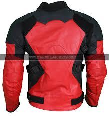 men s deadpool motorcycle rider red black biker real cowhide leather jacket