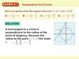 find the equation of a tangent line to circle at given point