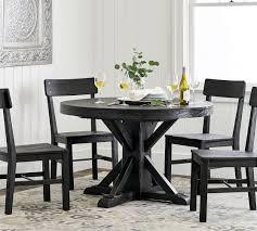 benchwright extending pedestal dining table blackened oak