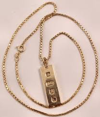 9ct gold ingot pendant on a 22 inch 9ct chain 23 5 grams