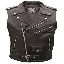 allstate mens biker vest style sleeveless leather motorcycle jacket