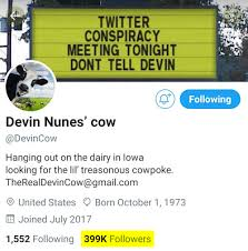 DevinCow Now Has More Twitter Followers Than Devin Nunes | Techdirt