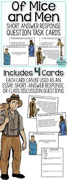 best of mice and men ideas mice and men movie  of mice and men short response questions and task cards
