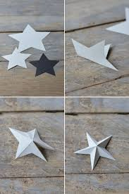 this is a very simple and straight forward way to create paper stars simply cut star shapes out of coloured cardsotck and fold as shown on the pictures