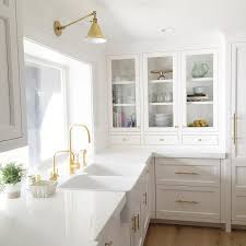 Dual Apron Sink with Gold Gooseneck Faucet Transitional Kitchen