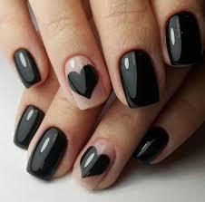 Nail Art Black Heart Hair černé Nehty Nehty A úprava Nehtů
