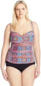 La Blanca Womens Plus Size Classic Tankini Swimsuit Top Blue Red Corsica Tile Print 20w