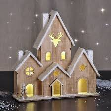 Holz Haus Stadt Beleuchtet Fensterdeko Weihnachtsdeko