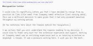Resignation From The Company Resignation Letter
