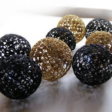 Black And Gold Decorative Balls Lace Crochet balls Wedding decor idea from VasilisaSkaska on 2