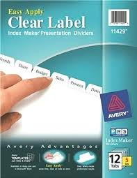 Index Maker Clear Label Dividers Template Inspirational Ready Tab