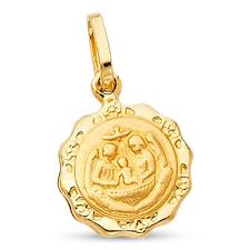 Gold Coin Pendant Designs Details About 14k Yellow Gold Baptism Coin Pendant Christian Charm Polished Design Solid