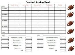 Football Scoring Sheet Free Printable Friday Game Day