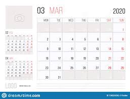 Month Of March Calendar 2020 Calendar 2020 Planner Corporate Template Design March Month