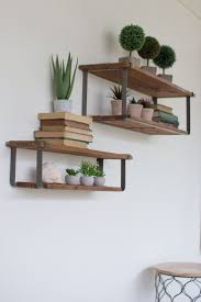 recycled wood and metal floating shelves set of   metal shelves