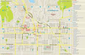 los angeles map  hollywood layout travel map showing nightclubs