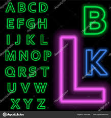 Luminous neon alphabet Vector font. The color of light is easily changed.  Neon letters