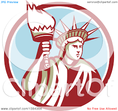 clipart of a retro statue of liberty holding a torch in a maroon clipart of a retro statue of liberty holding a torch in a maroon white and blue circle royalty vector illustration by patrimonio