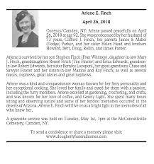 Arlene E. Finch ~ April 26, 2018 | Passages | Obituaries ...