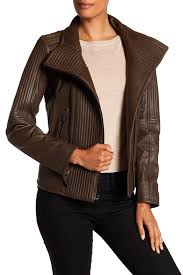 image of vince camuto trapunto genuine leather jacket