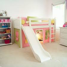 Bedroom White Wooden Kids Bunk Bed With Slide Plus Pink And Green Tent  Also Bedding Added With Open Shelf Placed On White Carpet As Well As  Furniture