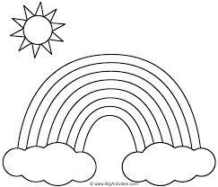 Rainbow With Clouds And Sun Coloring Page Nature