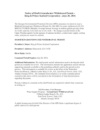 Notice of Draft Groundwater Withdrawal Permit – King & Prince Seafood  Corporation – June 20, 2016