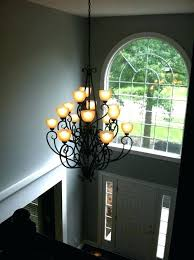 2 story foyer chandelier size height modern org how low to hang a in