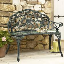 best choice s fl rose accented metal garden patio bench w antique finish black com