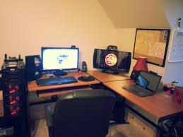 stylish office desk setup. Stylish Office Desk Setup. L Shaped Gaming 25 Best Desks Of 2018 High Ground Setup
