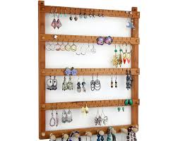 Jewelry Holder Wall Earring Holder Jewelry Holder Cherry Wood Wall Mount With