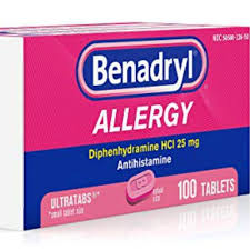 Amazon: 100 Count 25 mg Benadryl Ultratabs Antihistamine Allergy ...
