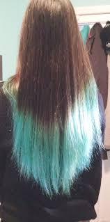 Blue Dip Dye On Light Brown Hair Karens Turquoise Dip Dyed Ends Hair Color Dip Dye Hair