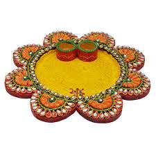 Paper Mache Flower Kundan Work Wooden Paper Mache Flower Shape Pooja Thali At Rs 999