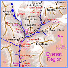Lukla Approach Chart Elevations And Distances And Trek Times To Everest Base Camp