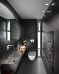 contemporary recessed lighting. Black Interior Color With White Toilet Using Contemporary Recessed Lighting Fixtures For Modern Bathroom Plan Large Oval Mirror