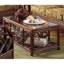 lacque brown 42 w x 23 d x 17 h in rattan and glass rectangular coffee table