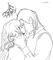 Small Picture Christmas Kiss under the Mistletoe Coloring Page