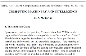 paper jpg  in a paper by alan turing who proposed that a computer would have to be considered intelligent if in a sort of five minute instant messaging exchange