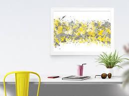 Image Grey Color Scheme Image Etsy Grey Yellow Abstract Watercolor Print Office Decor Gray Grey Etsy