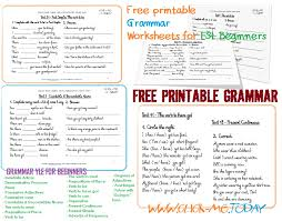Free printable ESL Grammar worksheets for Beginners