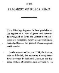 kubla khan   preface of kubla khan 1816