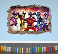 3D Power Rangers Smashed Breakout Wall Sticker Boys Girls Bedroom Decal  Poster