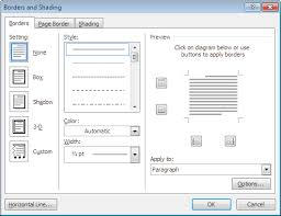 borders and shading dialog for a single paragraph